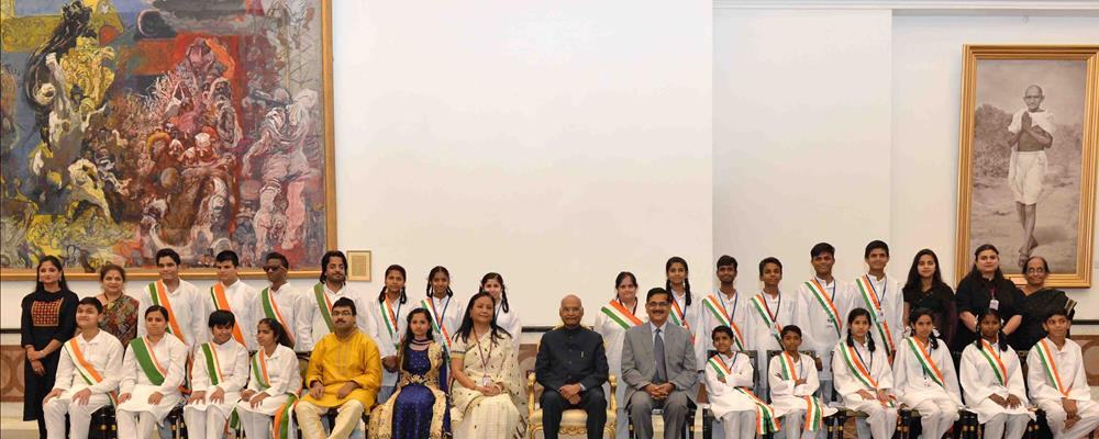 "The President of India, Shri Ram Nath Kovind in a group photograph after witnessing ""Divya Kala Shakti: Witnessing Ability in Disability"" a Cultural Event being organised by Ministry of Social Justice & Empowerment and Department of Empowerment of Persons with Disabilities(Divjangjan) at Rashtrapati Bhavan Cultural Centre on April 18, 2019."