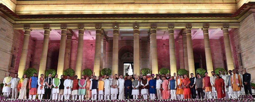 The President of India, Shri Ram Nath Kovind, the Vice President of India, Shri M. Venkaiah Naidu and the Prime Minister of India, Shri Narendra Damodardas Modi with newly sworn-in Ministers at the Forecourt of Rashtrapati Bhavan in New Delhi on May 30, 2019.