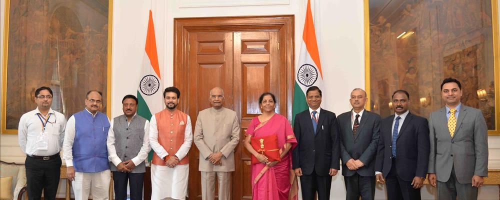 The Minister of Finance, Smt Nirmala Sitharaman with others meeting with the President of India, Shri Ram Nath Kovind before presenting the Union Budget at Rashtrapati Bhavan on July 5, 2019.