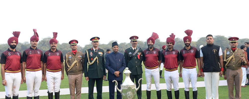 The President of India, Shri Ram Nath Kovind during the President's Polo Cup Exhibition Match at PBG Parade Ground in New Delhi on December 1, 2019.