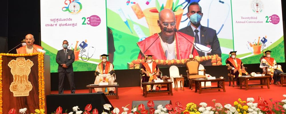 The President of India, Shri Ram Nath Kovind addressing the 23rd Annual Convocation of the Rajiv Gandhi University of Health Sciences in Bengaluru, Karnataka on February 7, 2021.
